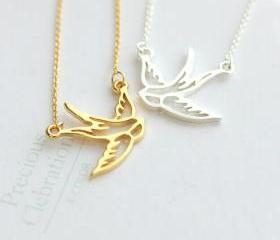 Rhodium Plated Hollow Out Little Swallow Bird Short Necklace 061746J